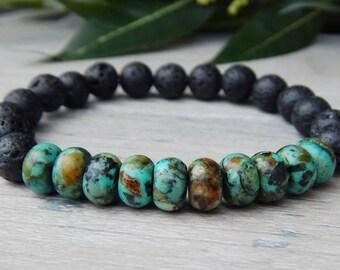 Beaded Bracelet Men, Mens Earthy Bracelet, Mens Volcano Rock Bracelet, Mens Lava Bracelet, Mens African Turquoise Bracelet, Mens Jewelry