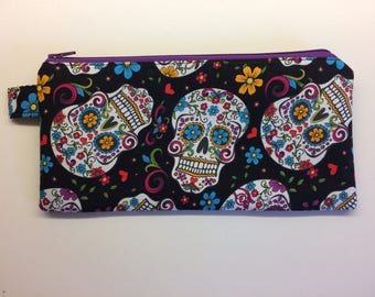 Zipper Pouch - Sugar Skulls, Halloween, Day of the Dead - Pencil Case, Travel Case, Make Up, Glasses Case,