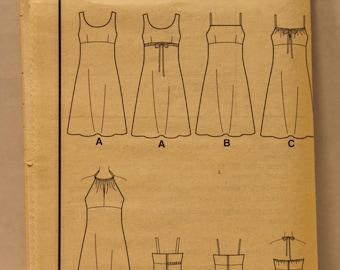 Sewing Pattern New Look 6860- 1990s  Summer Sheath Dress - Empire Line Dress w/ Spaghetti Straps - Sizes (6 - 16) - UNCUT-no enveloppe-