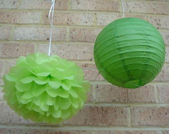 Green Tissue  Pom Poms  Paper Lanterns for Wedding Engagement Anniversary Birthday Garden Party Bridal Baby Shower Venue Decoration