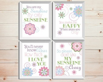 Girls room decor Baby girl wall art Nursery wall decor You are my sunshine Sunshine wall art Floral nursery decor Pink blue Floral prints