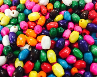 500g Colored Wood Beads Colorful Necklace Beads Kids Wooden Jewelry Supply Round Girls Fun Neon Bright Color Beads
