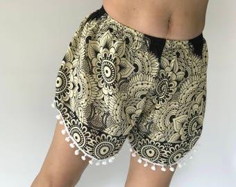 PP0090 Pom pom Shorts Beach Summer pants Freshy pants Fashion short Chic Clothing Aztec Ethnic Bohemian Ikat Boxers Short Pants Unique
