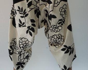 HC0573 samurai pants Handmade pants, Thick Smock Waist Low Crotch, unisex Yoga Harem Pants  - elastic waistband  - Fits all !