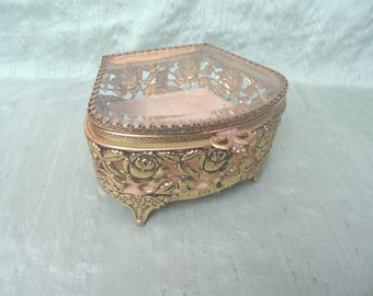 Filigree glass top jewelry casket box / Hollywood Regency ormolu footed, beveled trinket or cosmetic Box