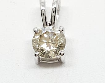 0.39Ct VS1 J Round White Diamond Solitaire Pendant 14K White Gold w Certification