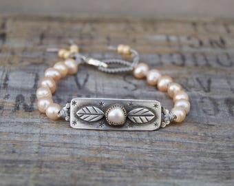 Sterling Baroque Pearl Bead Bracelet. Beaded.  Handmade  . Rustic . Earthy . Boho . Hand Stamped .  Bracelet