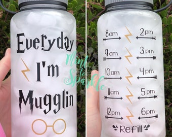 Everyday I'm Mugglin Harry Potter inspired motivational water bottle with hourly time tracker