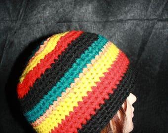 Rasta colors crochet Beanie