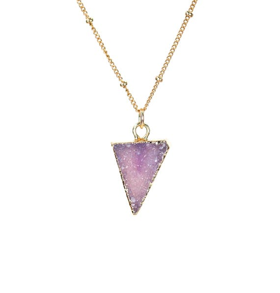 Purple druzy necklace - crystal triangle necklace - geometric necklace