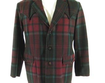 Vintage 50s Field Stream Jacket Mens 44 Western Yoke Wool Plaid Coat [H24C_2-8]