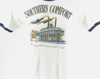 Vintage 70s Southern Comfort T-Shirt L Hanes USA White Drink South [H97C_0-6]