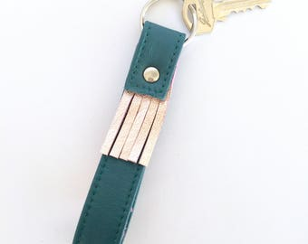Carey Two-Tone Tasselled Leather Key Fob: Teal and metallic rose gold