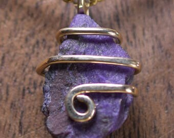 Sugilite gemstone pendant Necklace Gold Filled  Wire Wrap e