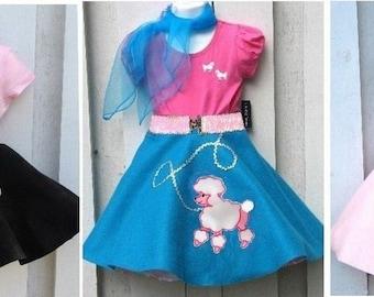 4 Piece Girls 50s Fifties Poodle Skirt Set Pageant Costume Choose SizeColor