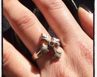 Etherial Handmade Cross Ring Crucifix Ring Trinity Ring Religious Ring Amethyst Ring Silver Cross Ring Gold Cross Ring Silver Cross Ring