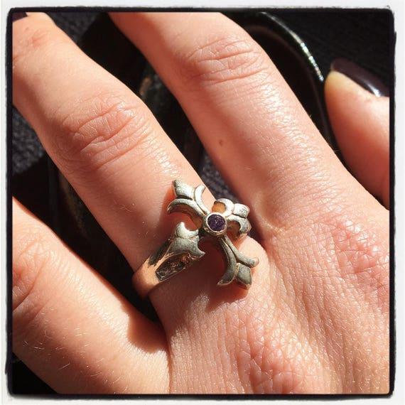 Etherial Jewelry - Rock Chic Talisman Luxury Biker Custom Handmade Artisan Pure Sterling Silver .925 Bespoke Trinity Cross Badass Ring