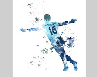Sergio Aguero ART PRINT illustration, Manchester City, Football, Wall Art, Home Decor, Gift