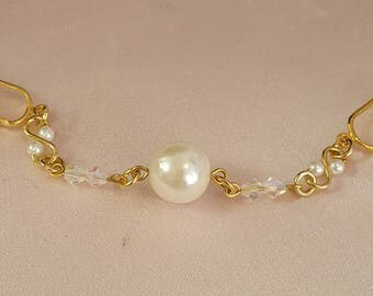 Gold gep Pearl with Genuine Austrian Crystals Female Personal Intimate Body Clip