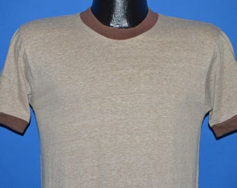 70s Brown Blank Ringer t-shirt Small