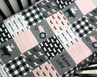 Baby Girl Farm Quilt, Pink Black Grey Baby Quilt, Tractor Baby Bedding
