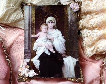 Antique glass Madonna and Child picture Mary baby Jesus glass print shabby chic small framed religious print