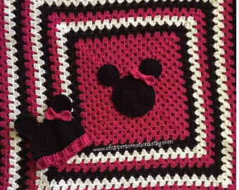 Crocheted Minnie Mouse Baby Blanket Afghan