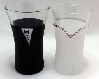 Wedding Shot glasses - bride & groom