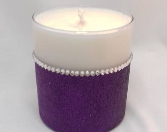 Glass Candle - Soy Wax - Glitter Diamante