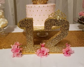 Princess Gold Glitter Sparkly Number. Head Table , Dessert Table, Candy Table decor, Birthday Party, Sweet Sixteen, Princess Party