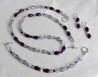 Elegant Purple Iris Teardrop, Purple/White Glass Luster, Purple Round Glass Necklace, Bracelet and Earring Set, Beaded, Jewelry, Gift