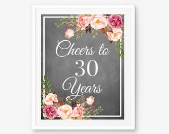 Cheers to 30 years 30th birthday 30th anniversary 30th for 65th birthday party decoration ideas