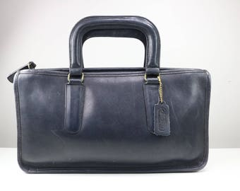 Vintage 1970s COACH Bonnie Cashin Black leather small briefcase style purse/ top handle purse/ Made in New York City
