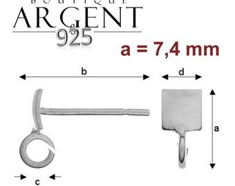4 X brackets Stud Stud Earrings / 925 sterling silver square shank