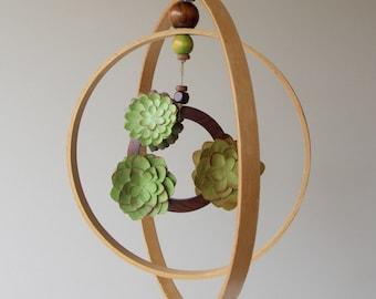 Succulents Baby Mobile - Minimalist Wood Hoops Mobile