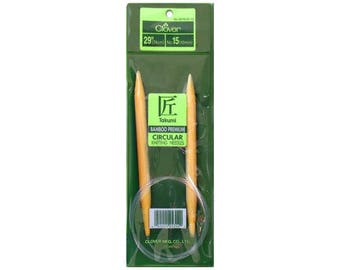 Size 15 Circular Knitting Needles - Choose Length - 10.0 mm Bamboo Circs - Clover Takumi Bamboo Needles - Lovely Seamless Knitting - New