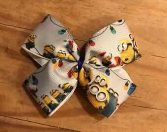 Minions Christmas  hair bow