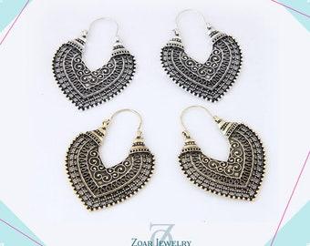 Heart Brass Hoop Earrings, Boho Earrings, Tribal Earrings, Gypsy Earrings Gold, Boho Gipsy Earrings, Bohemian Earrings\