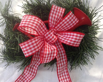 Gingham Bow red white rustic country  picnic, wedding decor for any season gift bows