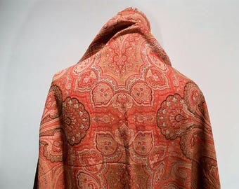 """Wrap Me In 140"""" by 60"""" Of Victorian Paisley Wool and Silk Shawl, c. 1870"""
