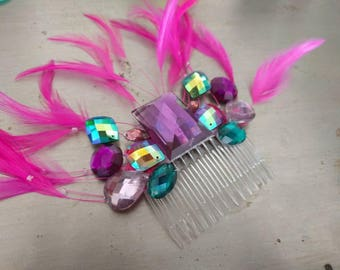 Pink purple and blue feather gem hair comb