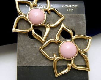 Trifari TM Vintage 1990s Pink Lucite Cabochon Flower Earrings Comfort Clip Ons