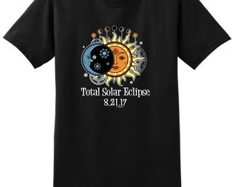Eclipse Event Solar Eclipse 8-21-2017 Sun and Moon Art T-Shirt 2000 - WSC-501