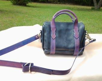 Black & Purple leather handbag