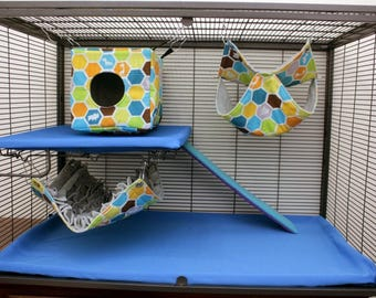 3 piece set LARGE rat hammocks cube fringe double ferret hammock chinchilla hammock pet hammock