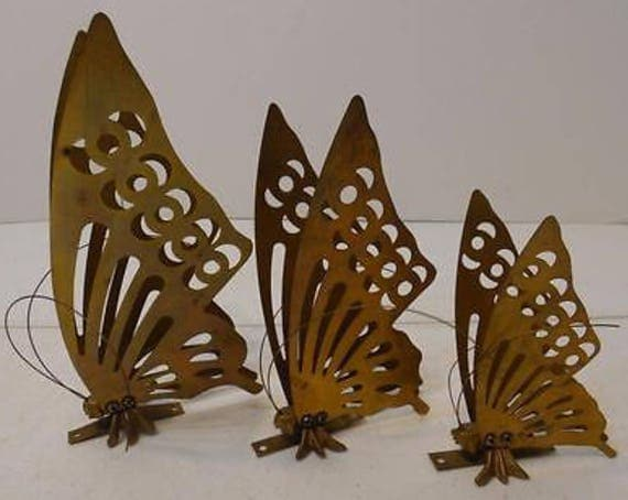 Boho Decor Vintage Set Of 3 Brass Metal Butterfly Wall  Placques Wall Decorations