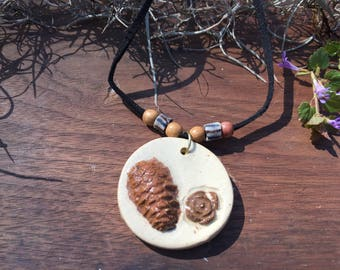 Forest stoneware pendant