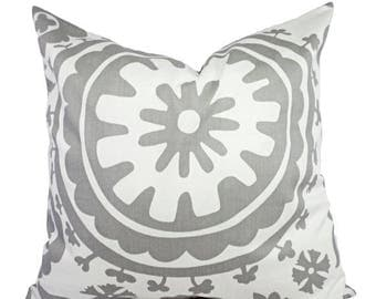 15% OFF SALE Two Grey Pillow Covers - Grey and White Suzani Decorative Throw Pillow Covers - 12x16 12x18 14x14 16x16 18x18 20x20 22x22 24x24