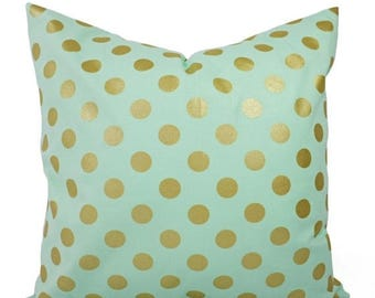 15% OFF SALE Two Metallic Gold Pillow Covers - Mint and Gold Pillow Cover - Decorative Pillow - Polka Dot Pillows - Mint Green Pillow - 16 i