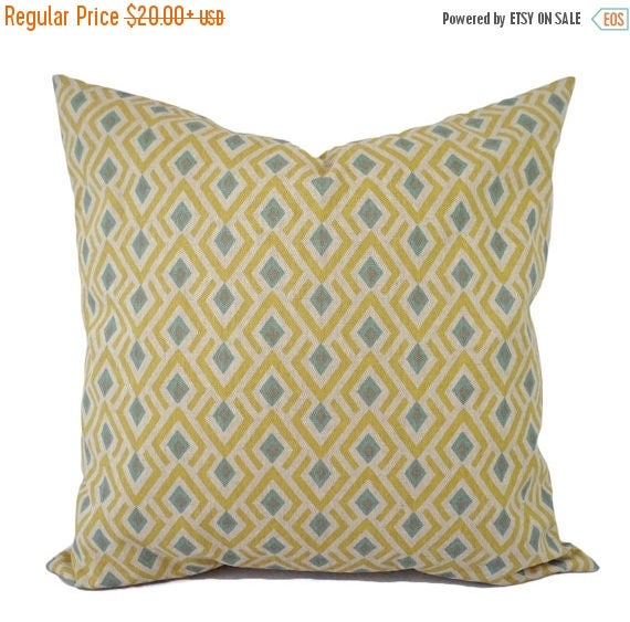 15 Off Sale Yellow And Blue Decorative Pillow Covers Two